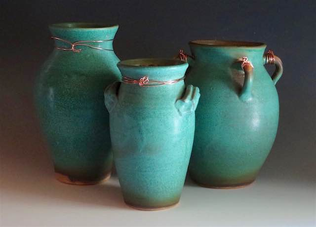 Three Vases Ancient Reflection Series Aag Alamance Artisans Guild